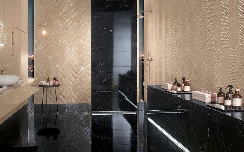 Фактурные поверхности для ванной комнаты. Керамогранит FAP ROMA CLASSIC, FAP ROMA DIAMOND.