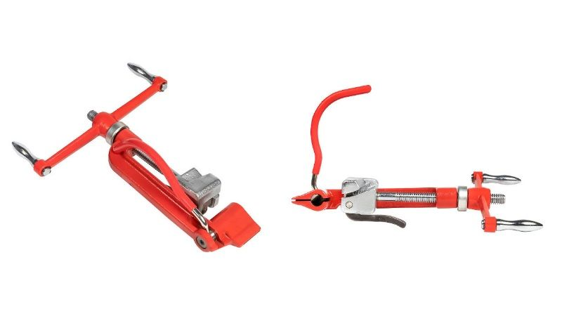 Инструмент для монтажа СИП EKF, для удобного натяжения и резки стальной ленты.