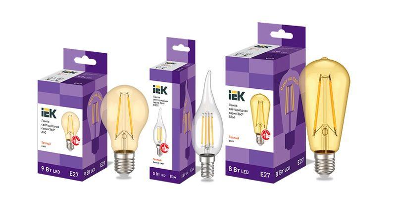 Расширение ассортимента филаментных ламп серии 360° IEK® – новые типоформы и модели с золочеными колбами