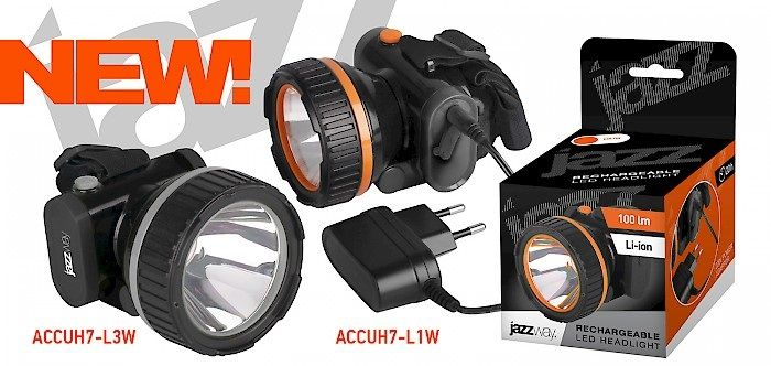 Аккумуляторные светодиодные фонари jazzway - ACCUH7-L1W и ACCUH7-L3W
