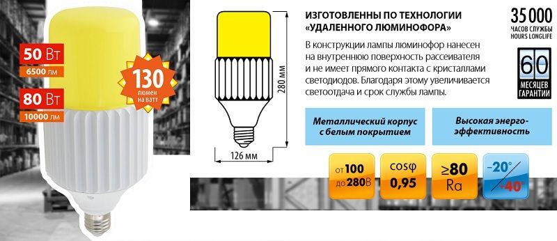 Лампы высокой мощности UNIEL LED-MP200 PROFI.