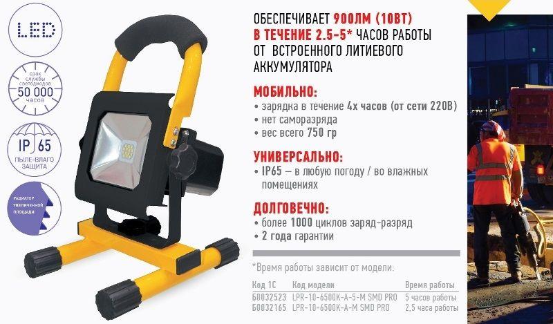 Аккумуляторные прожекторы ЭРА Pro.